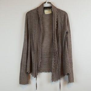 Sparrow Anthro Crochet trim wool blend cardigan